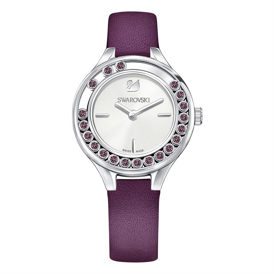 Swarovski Kol Saati Lovely Crystals Mini Leather Strap Burgundy 5295331